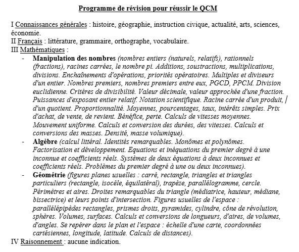 programme de l'épreuve du QCM concours commun categorie c